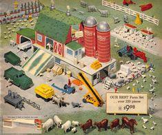 Vintage Farm, Vintage Toys, Vintage Games, Antique Toys, Childhood Toys, Childhood Memories, Toy Catalogs, Toy Barn, Farm Crafts