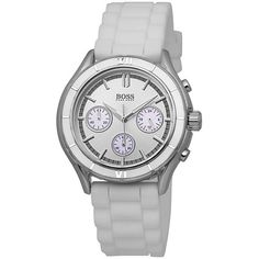 Hugo Boss Chronograph Silver Dial White Silicone Unisex Watch (€89) ❤ liked on Polyvore featuring jewelry, watches, silicone watches, water resistant watches, buckle watches, dial watches and analog watches