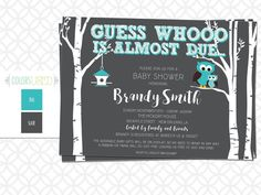 Printable Guess Whooo is Almost Due BABY SHOWER Invitation, Owl Baby Shower, Baby Boy, Baby Girl, Gender Neutral, Customizable