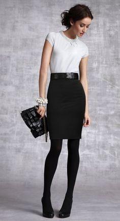 white top, black skirt, black tights