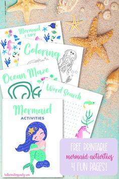 Free printable mermaid activities! Includes a mermaid word search, mermaid coloring sheet, mermaid I spy and an ocean maze! Perfect for mermaid themed birthday parties, homeschooling activities, and kids boredom busters! #Printables #Mermaid #MermaidBirthday #ColoringSheet #KidsActivities #SummerCrafts