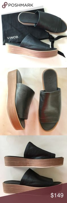 """NEW VINCE platform black leather slides sandal 7.5 NEW IN BOX WITH TAGS and dust bag. Insole measures 9 3/4"""" long and 3 1/2"""" wide. Platform is about 1 1/2"""" high at heel. Box says size 7.5, inside of both shoes says size 7, EU 38. Soles (white) show darkening from being tried on at the store. Super soft leather. Retail $250.  Very comfy shoes! (30) Vince Shoes Sandals"""