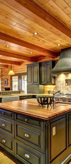 Love the ceiling and Color Scheme ~Log Home Kitchen | True North Log Homes