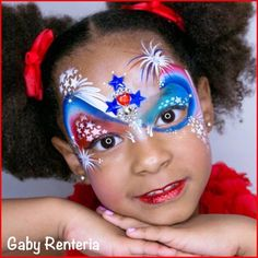 gaby renteria Fourth Of July Cakes, 4th Of July Fireworks, Tinta Facial, Blue Face Paint, 4th Of July Photography, 4th Of July Makeup, Neutral Eyes, Kids Makeup, Bow