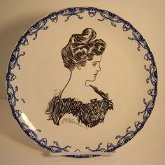 Antique 1899 ROYAL DOULTON Gibson Girl Collector Plate White Blue Black Hearts