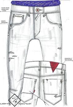 Moda Jeans, Denim Jeans Men, Estilo Jeans, Trousers, Pants, Denim Fashion, Jeans Style, Illustration, Drawing