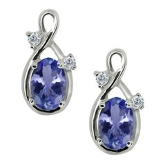 0.98 Ct Oval Blue Tanzanite and White Diamond Sterling Silver Earrings Gem Stone King. $124.99. This item is proudly custom made in the USA. This Item Contains 100% Natural Stones