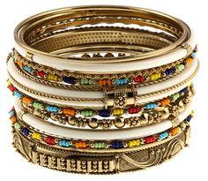 A set of colorful stackable bracelets