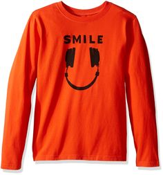 Life is good Boy's longsleeve Boys Smile Headphones Tee, Flame Orange, Medium. Same crusher fabric as the adult t-shirts. Additional screen print on back. The Life is good company donates 10% of all sales to kids in need.