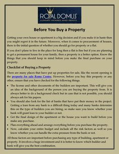 Royal Domus involves a huge investment and it is better to know which builder and bank will give you the best combination. There are many places that have put up properties for sale, like the recent opening is the property for sale Rome Centre.