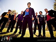Another take on the off beat Superhero Wedding- I love the angle here! #Groomsmen #superhero #photography