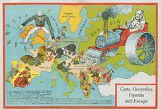 Italian Comic Map of Europe, 1917.More satirical maps of Europe >>