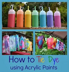 Tie Dye using acrylic paints instead of dye great idea! - Walmart Storage Ideas - Ideas of Walmart Storage Ideas - Tie Dye using acrylic paints instead of dye great idea! Fête Tie Dye, Tie Dye Party, How To Tie Dye, How To Dye Fabric, How To Make, Diy Tie Dye Paint, Dyeing Fabric, Diy Tie Dye Mix, Diy Tie Dye Liquid