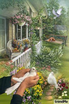 White+Doves+In+The+Garden od Mirna M - trendme.net