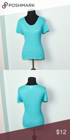 Gorgeous Aqua Color Textured Stretch Blouse In excellent condition! Very comfortable, lightweight, and soft! Buy 3 items and get 1 free plus 15% off your purchase total! Tops