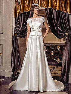A-line Off-the-shoulder Sweep/Brush Train Satin Wedding Dres... – GBP £ 139.19