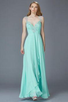 Cap Sleeve Blue Prom Dress **New Arrival**