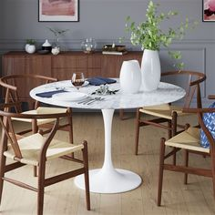 Nolan Round White Marble Top Dining Room Table with Four Chairs.Double tap to zoom · Saarinen Tulip Oval Marble Dining Table.Double tap to zoom · Saarinen Tulip Round Marble Dining Table.Dining table with emperador marble top and walnut base. Round Marble Table, Circular Dining Table, Tulip Dining Table, Pedestal Dining Table, Dining Room Table, Saarinen Tisch, Table Saarinen, Table For Small Space, Small Spaces