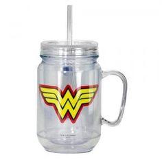 #10016715 WONDER WOMAN CLEAR MASON JAR WITH LID by sensationaldecorandmore