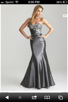 Dark silver bridesmaid dress Nightmoves By Allure