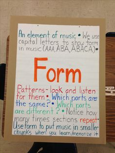 Anchor chart for music, form. A good visual for parents Music Anchor Charts, Music Charts, Teaching Orchestra, Piano Teaching, Music Classroom, Classroom Decor, Music Teachers, Classroom Displays, Music Bulletin Boards