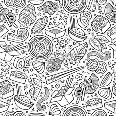 japanese products: Cartoon cute hand drawn Japan food seamless pattern. Line art with lots of objects background. Endless funny vector illustration. Sketchy backdrop with japanese cuisine symbols and items