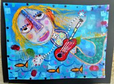 Tracey Ann Finley Original Outsider Collage Painting #Mermaid Red Guitar Fish .99