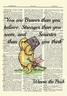 Winnie the Pooh Dictionary Art Print Picture Poster Classic Vintage Braver Quote Winnie The Pooh Cartoon, Winnie The Pooh Drawing, Winnie The Pooh Quotes, Winnie The Pooh Friends, Disney Winnie The Pooh, Winnie The Pooh Decor, Good Instagram Captions, Brave Quotes, Dictionary Art