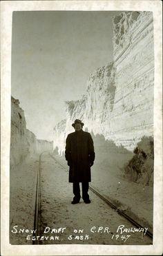 Estevan, Saskatchewan circa 1947 - snowdrift by the tracks