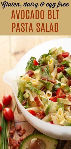 original_title] – Allergy Awesomeness Gluten, Egg & Dairy-free: Avocado BLT Pasta Salad A gluten, egg & dairy-free salad that no summer should be without. This Avocado BLT Pasta Salad is great for potlucks and BBQs. & a vegan option! Blt Pasta Salads, Avocado Pasta, Pasta Salad Recipes, Tomato Salad, Egg Free Recipes, Allergy Free Recipes, Lunch Recipes, Pasta Recipes Dairy Free, Drink Recipes