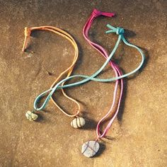 Rock Necklace…  Pick up some leather string & wire and let the kids find their own rocks to show off.