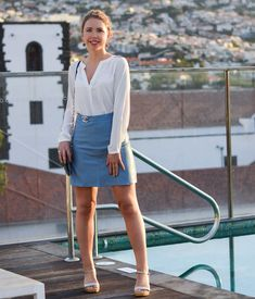 Outfit: White Blouse and Baby Blue Leather Skirt for Sunrise on a Rooftop in Funchal, Madeira