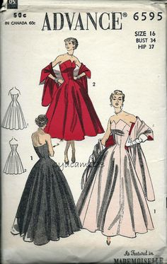 1950s Advance 6595 Vintage Pattern 1953 Strapless Petal Top Floor Length Gown by sydcam123