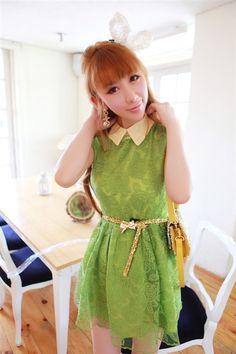 Graceful Retro Lapel Sleeveless Chiffon Wrinkle Dress Green