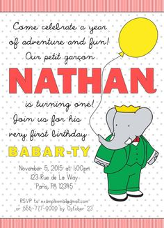 Babar Inspired Birthday Invitation Digital by AScoopOrTwoDesigns