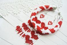 """VENTA abalorios joyas set """"Mi corazón"""" - pendientes y pulsera, abalorios ganchillo pulsera cuerda, nativo americano de cuentas pendientes, listo para enviar."""