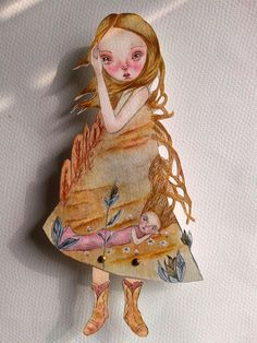 OOAK Original Hand Painted Paper Doll  Innocent by GentlyEthereal, $25.00