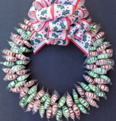 Holiday Special Christmas Candy Wreath Peppermint Spearmint Under 20 Christmas Reef, Christmas Candy, Christmas Ideas, Christmas Wreaths, Spring Wreaths, Candy Bouquet Diy, Candy Wreath, Door Wreath, Outside Christmas Decorations