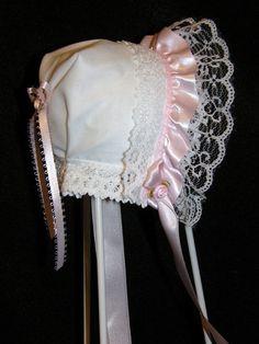 Handkerchief Bonnet White w/Pink Ruffled Ribbon Lace Trim Free Shipping by HankysHankies on Etsy