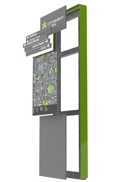 The Loci Monolith by Woodhouse (Tech Office Signage) Directional Signage, Wayfinding Signs, Outdoor Signage, Environmental Graphic Design, Environmental Graphics, Fuze Tea, Architectural Signage, Office Signage, Sign Board Design