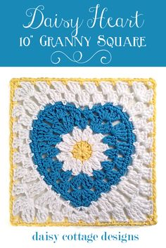 """10"""" Crochet Square with Daisy Center from Daisy Cottage Designs"""