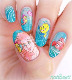 The Little Mermaid inspired nail art! Check out the tutorial video to see how I created this summery Ariel nail art! Disney Acrylic Nails, Disney Nails, Little Mermaid Nail Art, Cute Nails, My Nails, Nail Art Dessin, Nail Art Vernis, Japan Nail Art, Disney Princess Nails