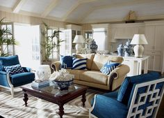 Sea Breeze Living Room.   Taking its cue from the colors of summer, this casual living room is tailored and chic. With more than a nod to tradition and comfort, the sofa, chairs and island-inspired coffee table invite kicking back after a long day at the beach. Accents we love: fine porcelain, white coral, bold pillows.