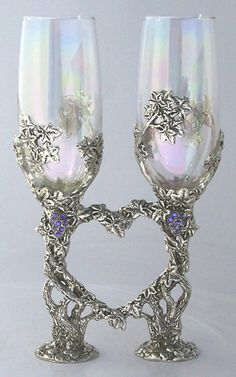 Crystal Vine Heart Flute Set Rennaisance Pewter Wedding Collections and Limited Edition Sculptures Crystal grapes hang in bunches from the delicately Wiccan Wedding, Celtic Wedding, Viking Wedding, Wedding Themes, Our Wedding, Dream Wedding, Geek Wedding, Wedding Stuff, Snowy Wedding