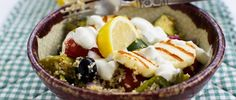 Add couscous to roasted vegetables, then top with crispy halloumi for a delicious taste of Greece - and it's all in one pan! Halloumi, Roasted Vegetables, Couscous, The Dish, Main Meals, Side Dishes, Healthy Lifestyle, Greek, Tasty