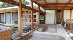 Piso de cemento, aislapol y madera