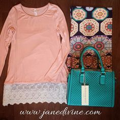 Outfit of the Day, Spring Fashion, Spring Outfit, Lace Detail, Printed Pants, All Abloom Top-Peach, Oh 'My'-Dallion Palazzo Pants, Bright Beginnings Bag in Turquoise, by Jane Divine Boutique www.janedivine.com