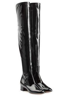 #Valentino #Overknees aus #Lackleder #, #Schwarz für #Damen - Glänzendes…