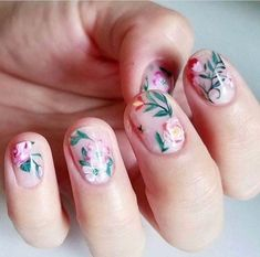 Olive and june nails nails, short nails art 및 nail designs s Different Nail Designs, New Nail Designs, Nail Designs Spring, Nail Designs Floral, Floral Nail Art, Spring Nails, Summer Nails, Cute Nails, Pretty Nails