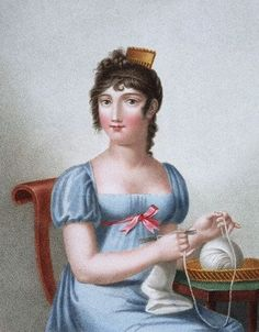 ca. 1819 --- Engraving of a woman knitting, published in Paris during the early 19th century.